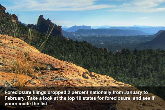 February 2012: Top 10 states for foreclosure