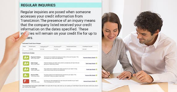 Investigate your inquiries | Hand: © Artem Furman/Shutterstock.com, Couple filling out form: © Ldprod/Shutterstock.com