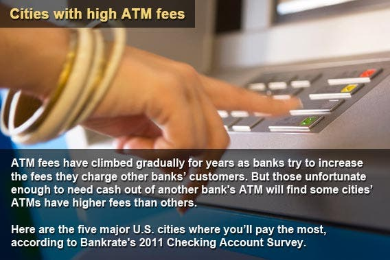 Cities with high ATM fees