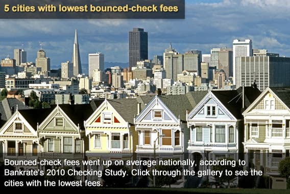 5 cities with the lowest bounced check fees