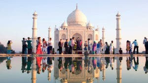 Tourists at the Taj Mahal
