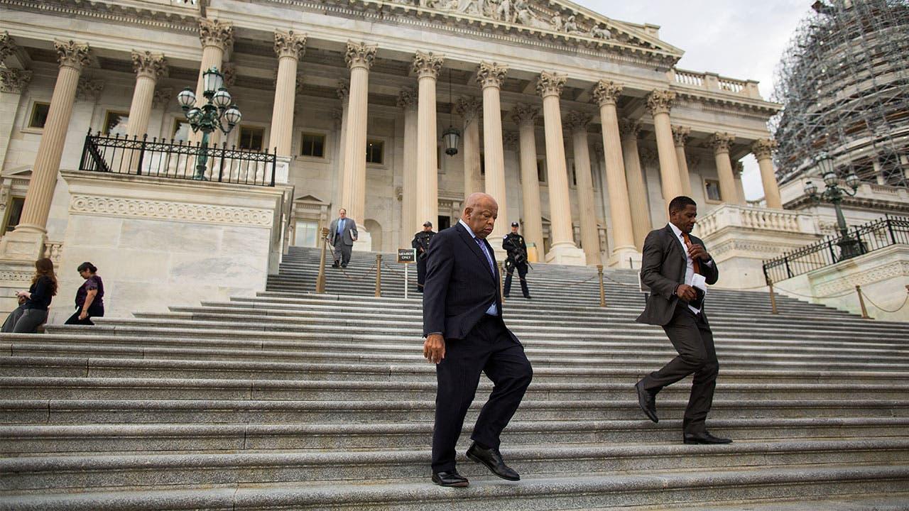 Men walking down the steps amid a govenrment shutdown