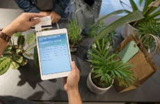 Scanning credit card at plant store