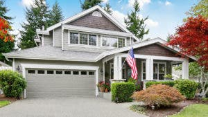 Large home with American flag