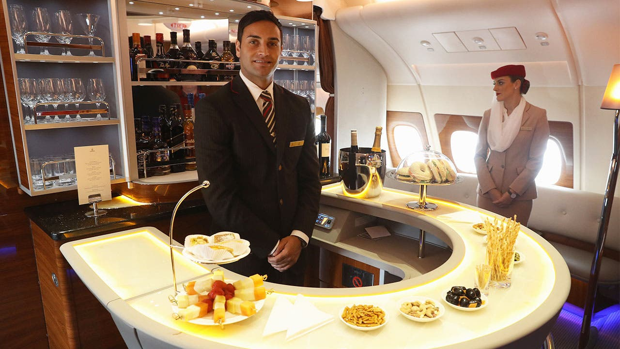 Bartender in an airplane
