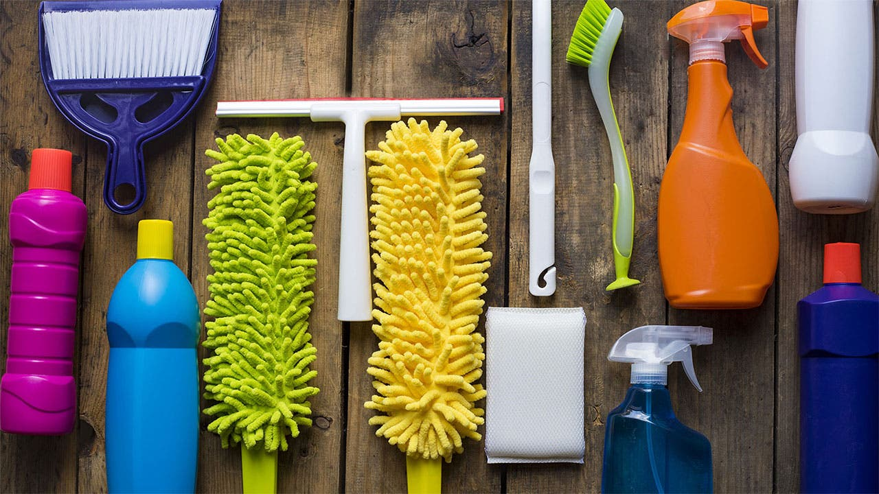 Organized cleaning supplies