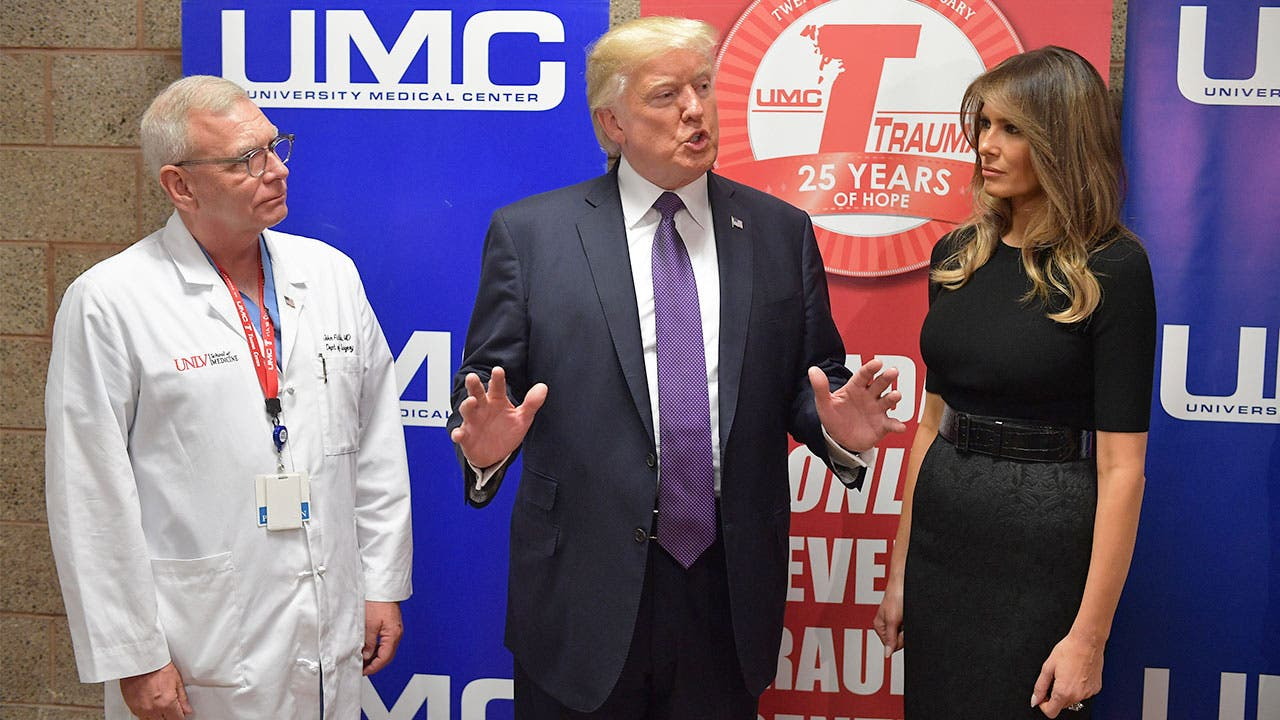 Donald Trump at hospital talking about his healthcare plan
