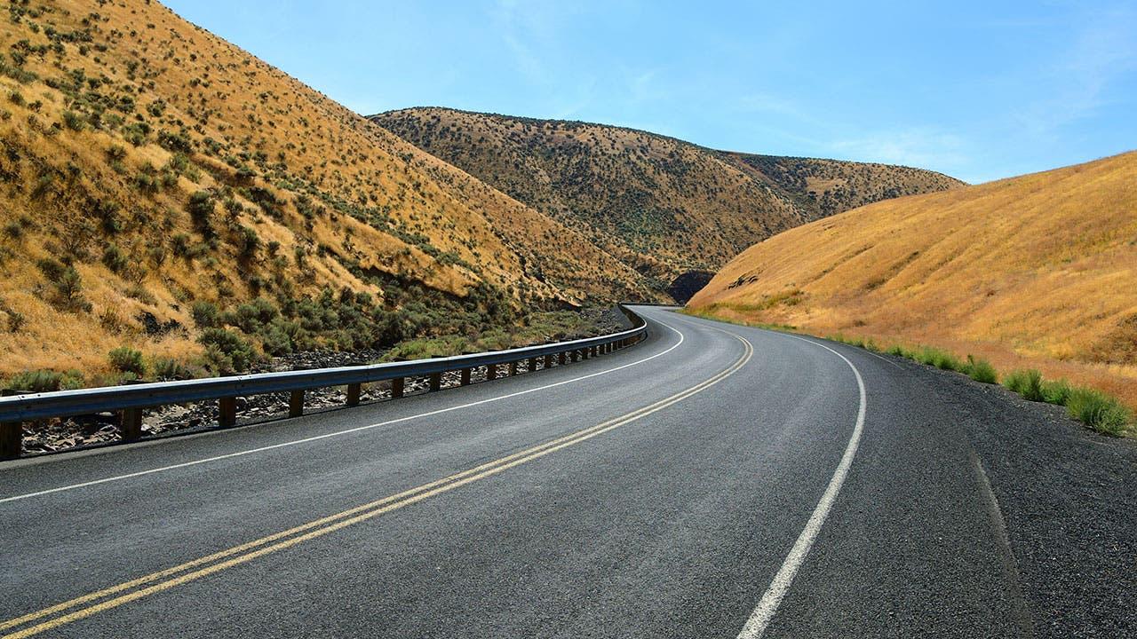 Open road in the hills