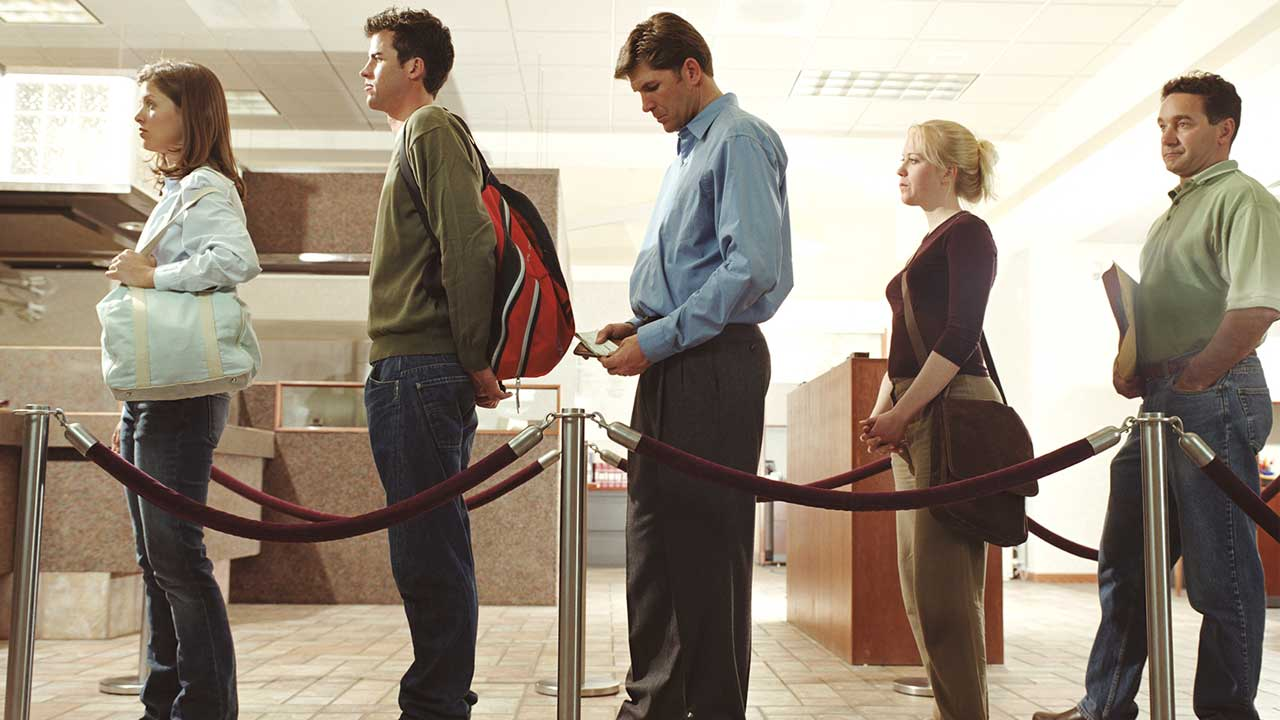 People lining up in bank