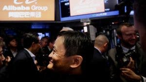 Jack Ma on the stock exchange floor for Alibaba IPO