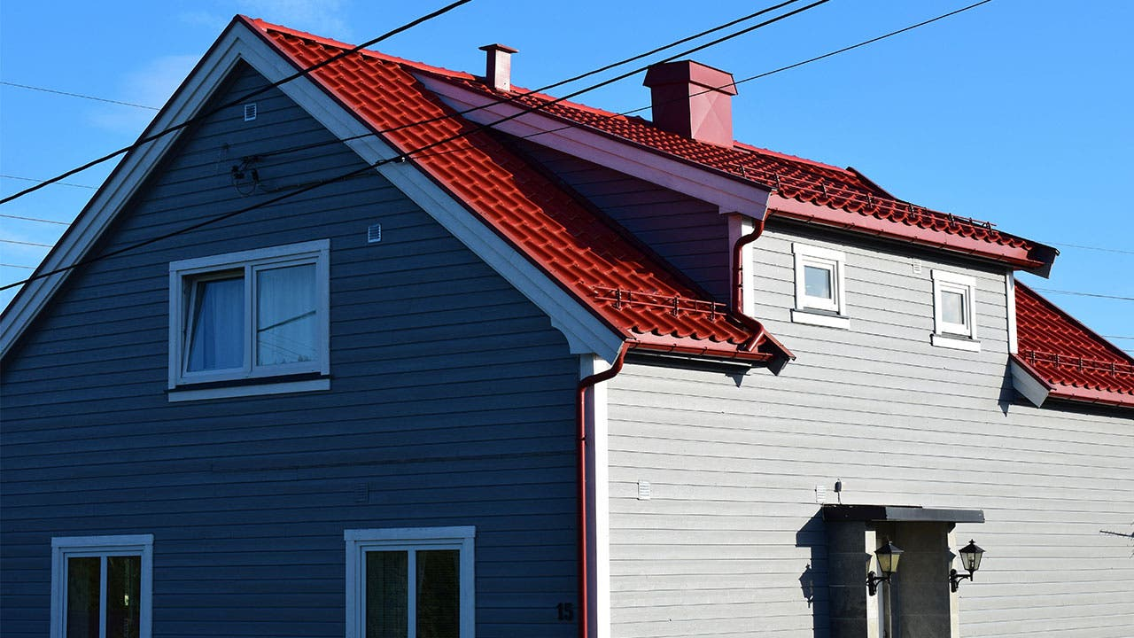 Home with red roof