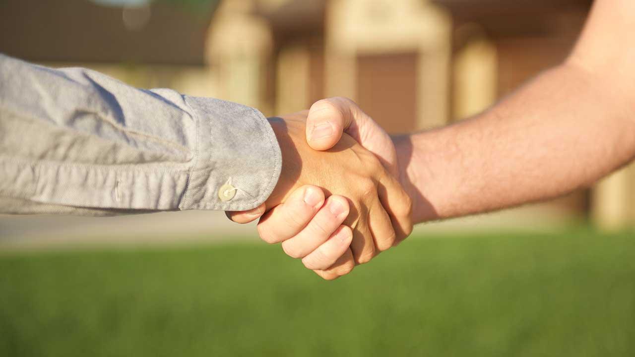 Military men shaking hands