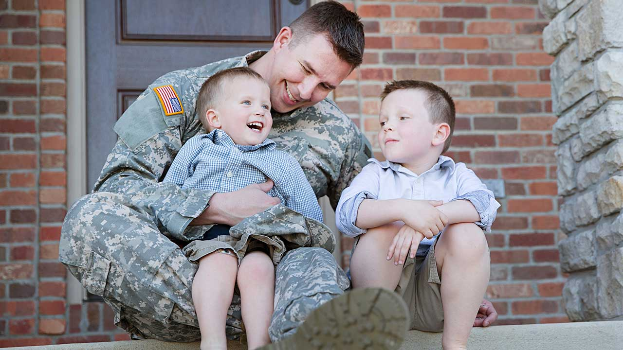 Military father with two young sons