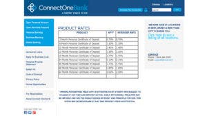 ConnectOne Banke CD rates