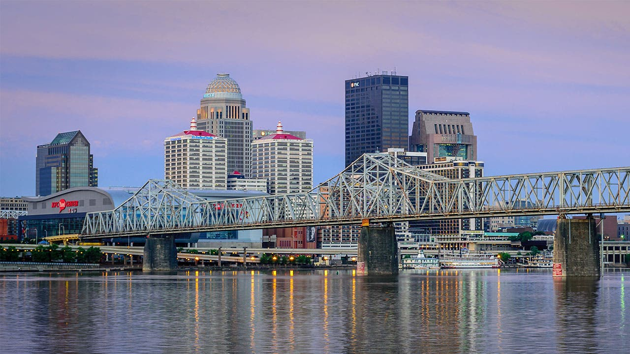 Louisville skyline along the Ohio River