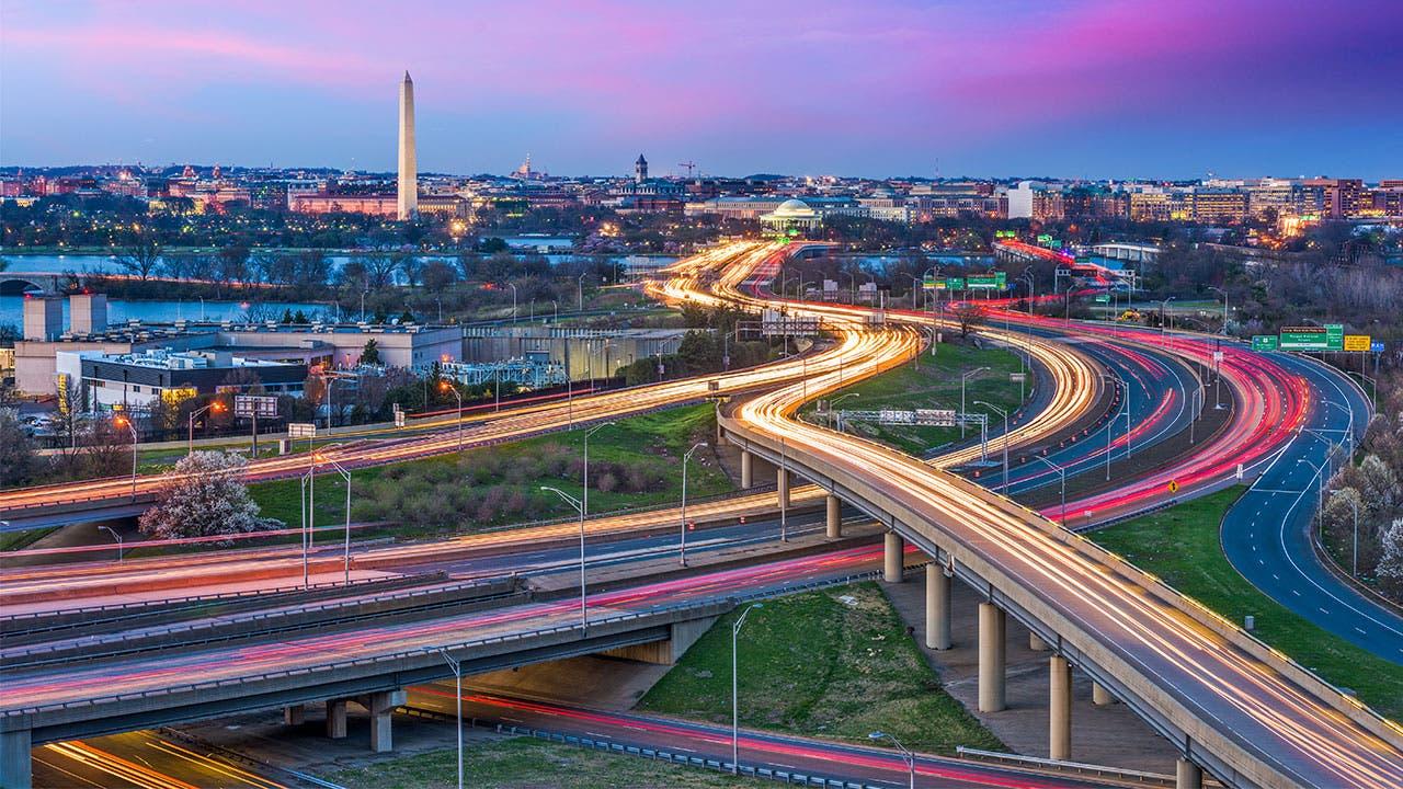 Washington highways and the Washington Monument