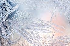 Frozen ice through a sunset