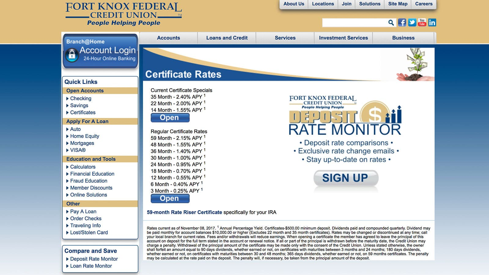 Fort Knox Federal Credit Union CD rate