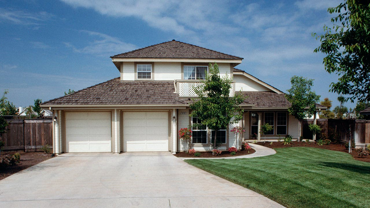 Suburban home with a two-car garage