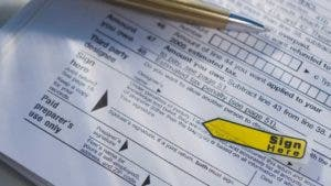 Close up tax form
