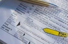 Close up tax form