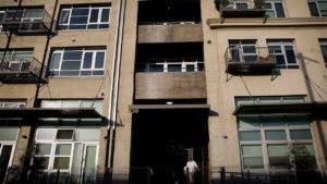 Apartment building in urban neighborhood