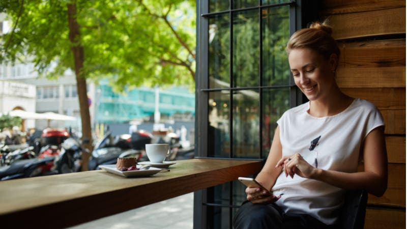 Young woman using phone in cafe window