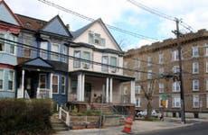 City neighborhood houses and apartments