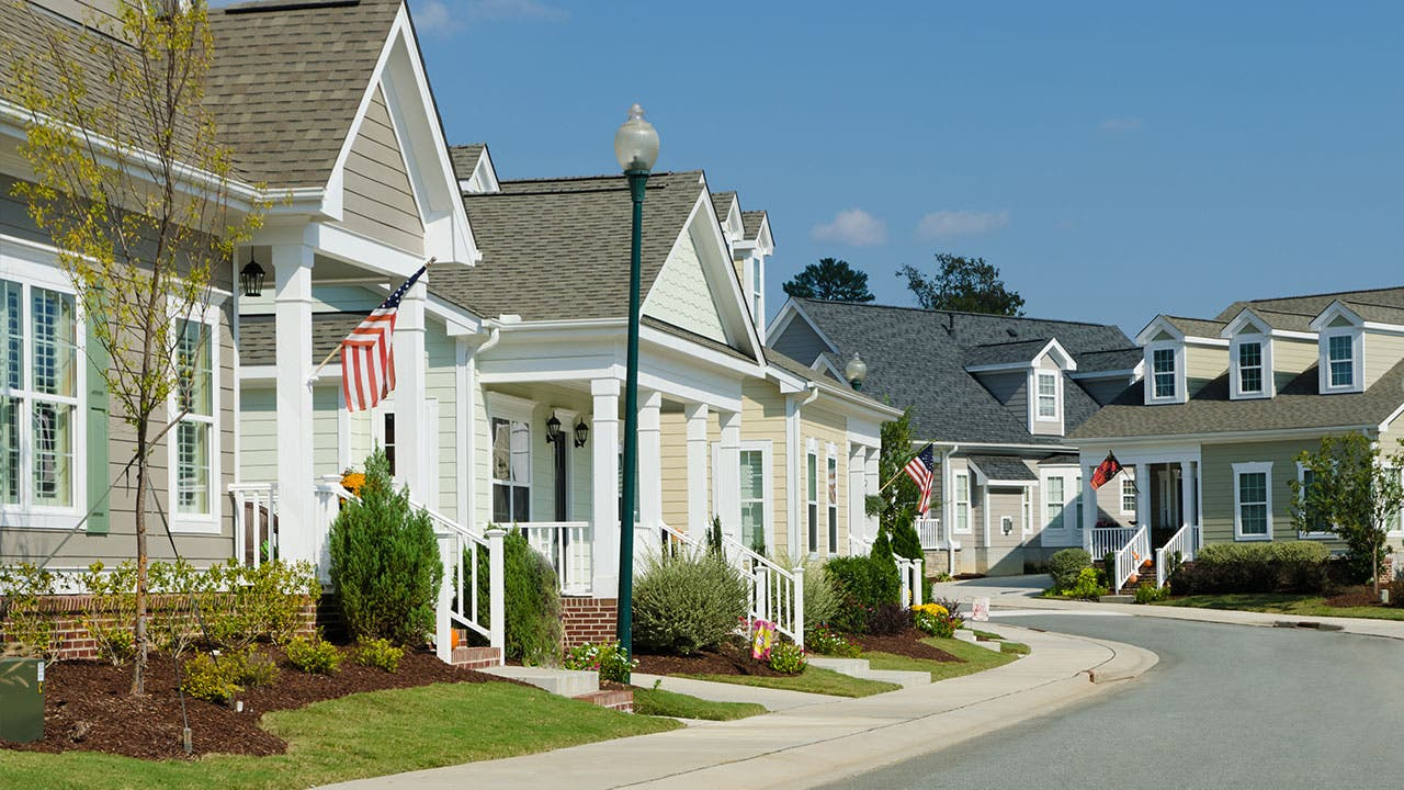 street of houses in America