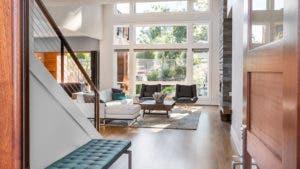 View of living room from open front door
