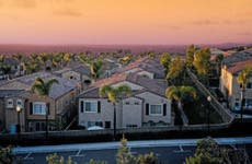 Residential neighborhood at sunset