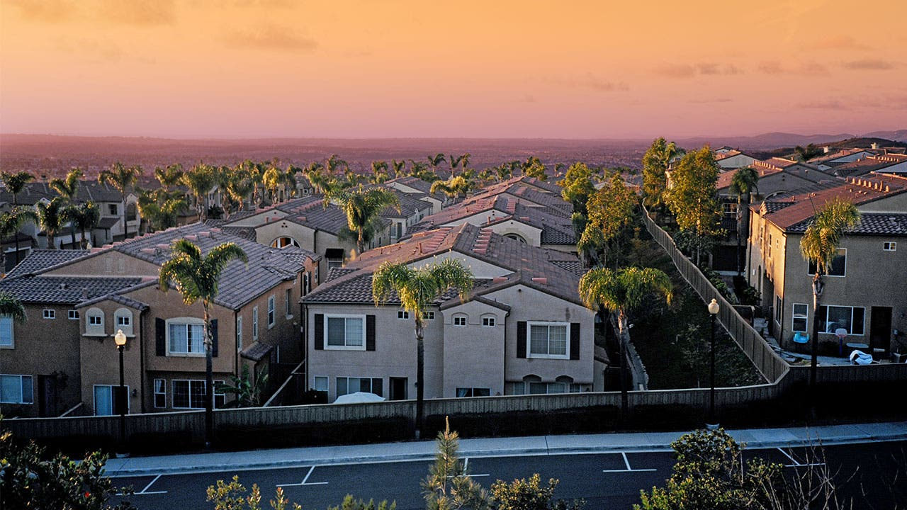 Residential neighborhood at sunset