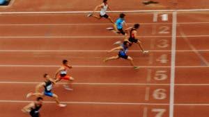 Men crossing finish line