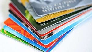 Assorted colour credit cards