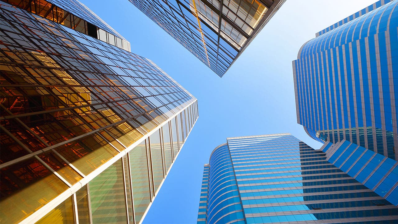 City buildings from below