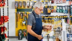 Worker in hardware store