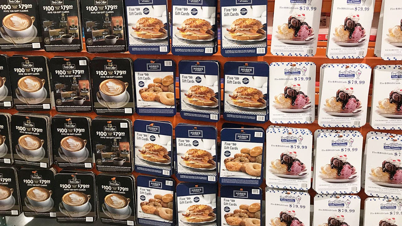 Giftcards for sale at Costco