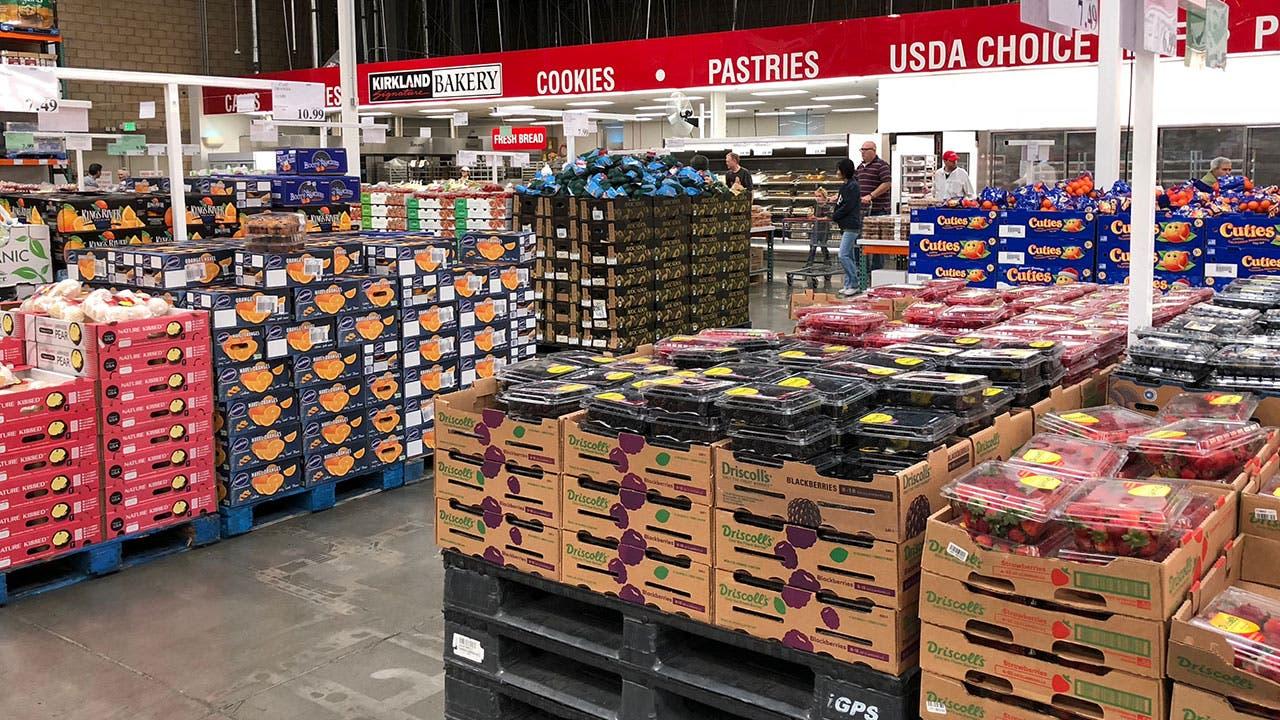 produce aisle in Costco