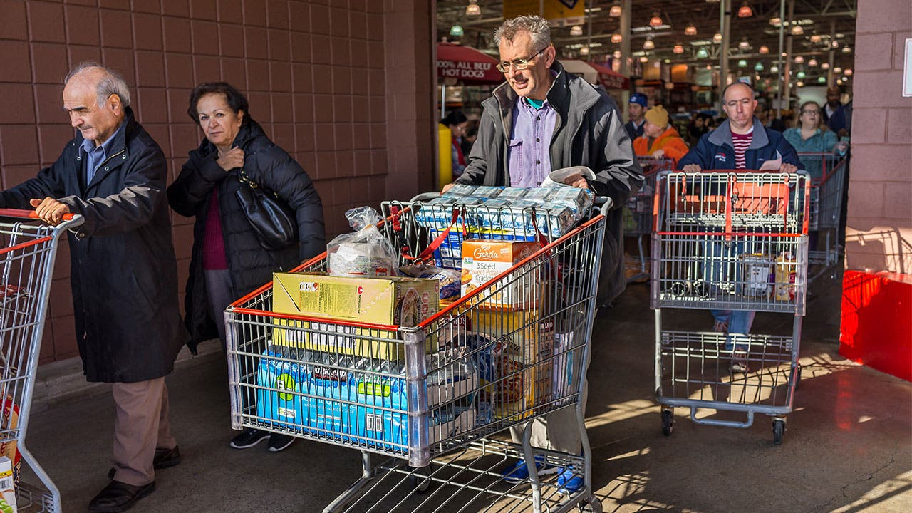 Customers leaving Costco
