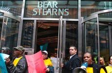 Protestors outside Bear Stearns office