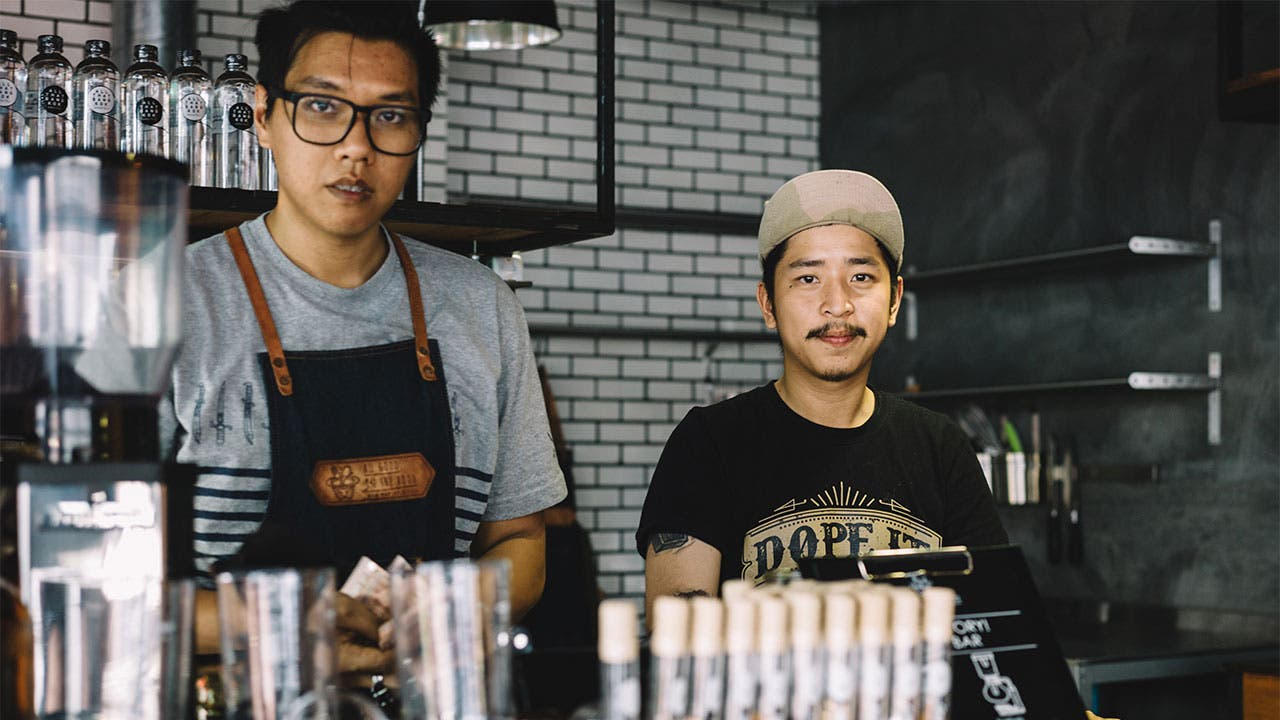 Baristas at coffee shop