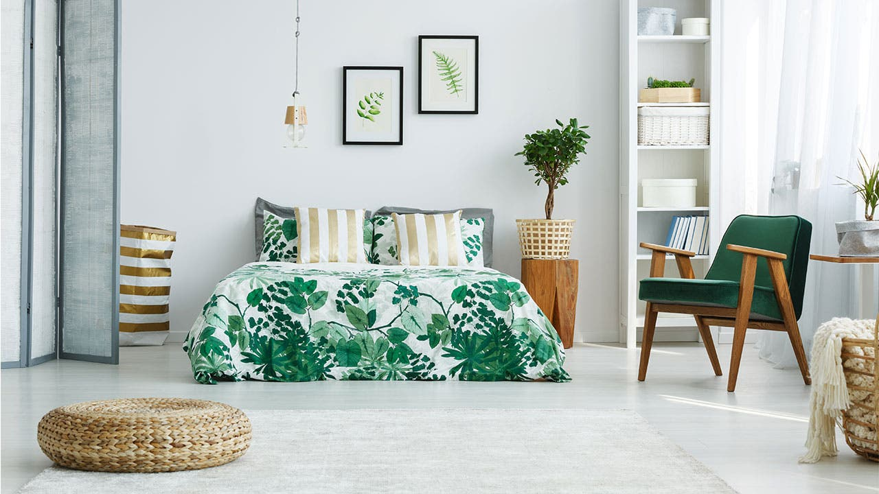Bedroom with white and green design