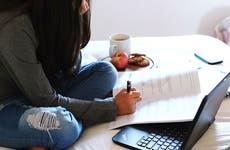 Student doing homework in dorm room