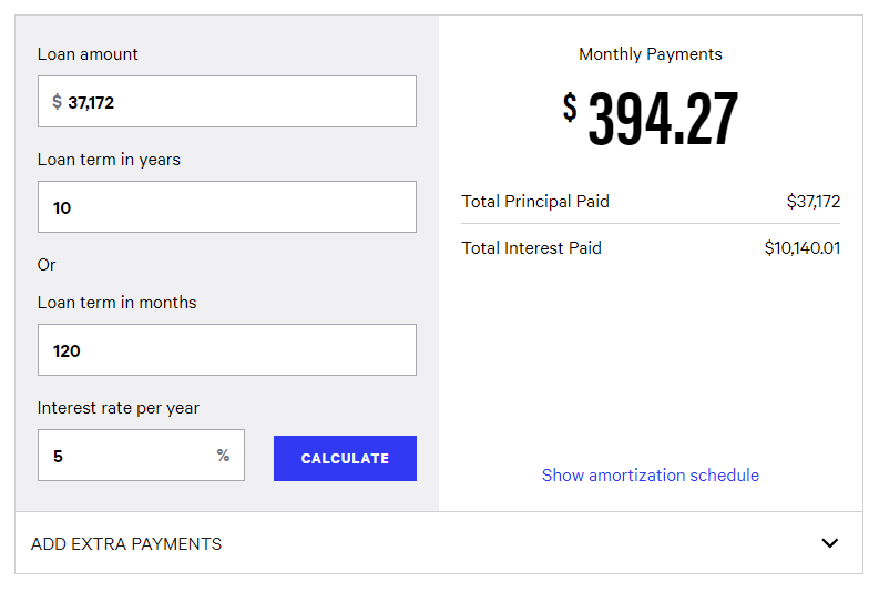 student loan calculate payment