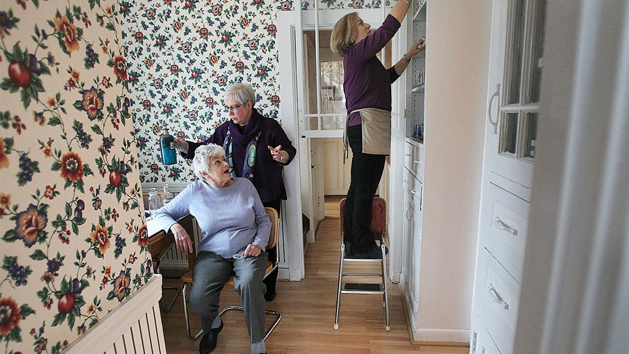 Senior retirees moving house