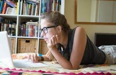 College student doing homework