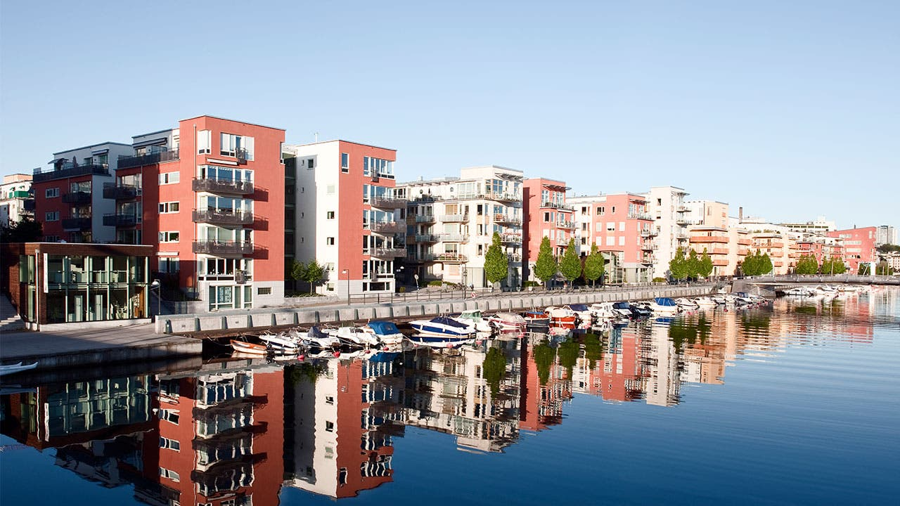 Apartment buildings on water