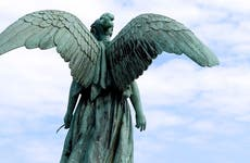 Angel statue in a graveyard