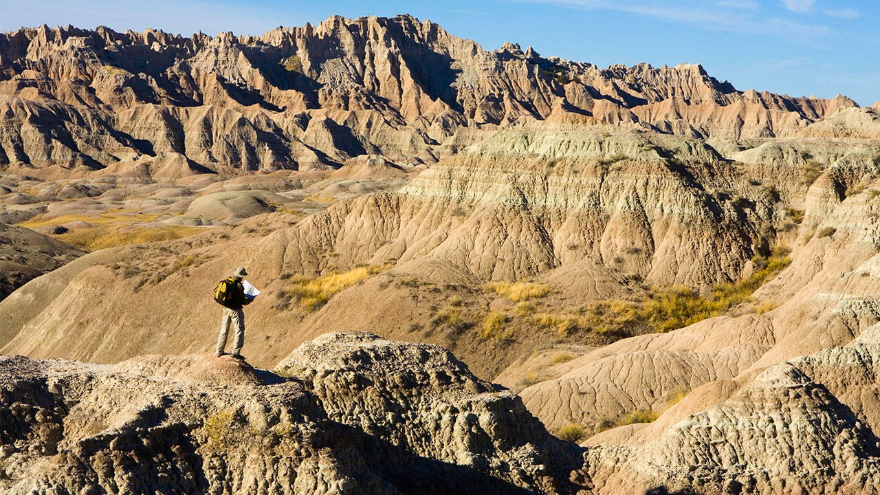 Traveller in the Badlands National Park
