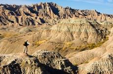 Traveller in the Badlands National Park